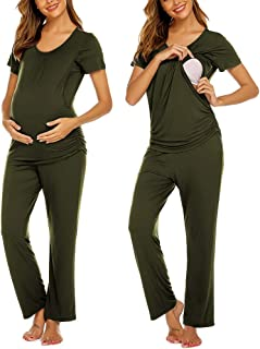 Ekouaer 女士孕妇护理睡衣套装*喂养睡衣套装双层短袖上衣和裤子 孕期睡衣