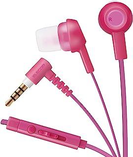 Elecom宜丽客 立体声耳机 防止打结的扁平线Y型 9mm驱动EHP-CS3520MPND 带麦克风 深粉色