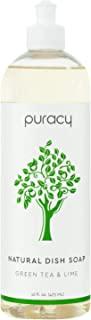 Puracy天然液体洗碗剂,无硫酸盐洗碗剂,绿茶和青柠,16盎司瓶,(1包)