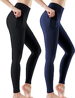 ATHLIO 1、2 或 3 件装高腰瑜伽裤带口袋、收腹锻炼紧身裤、不透视跑步紧身裤