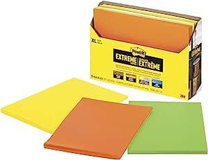 Post-it Extreme XL 便条纸,11.43 cm x 17.78 cm 垫子,橙色、黄色、*,每张 25 张,9 片/包 (EXT456-9CT)