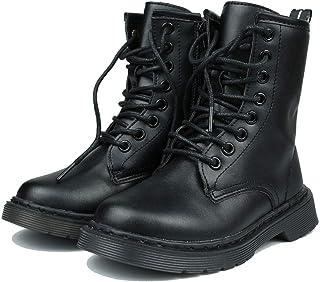 YcamisetaY 儿童女孩男孩防水皮革靴系带侧拉链户外战斗橡胶鞋底中筒靴