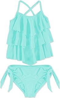 女孩尺码 6-12 2 件套纯色分层分体泳衣两件套交叉后背泳衣
