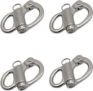 """品牌名称 BOOHAO 快速释放固定弹簧卸扣1-3/8(35MM)/2""""(52MM) 不锈钢固定扣,适用于皮艇帆船帆帆船五金件 4 件"""