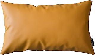 抱枕枕套人造皮革枕套靠垫套适用于沙发床沙发家居装饰纯色方形卧室客厅(黄色,30.48 厘米 × 50.8 厘米)