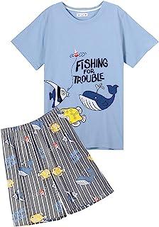 大男孩睡衣,可爱鲨鱼睡衣套装棉质休闲睡衣 10-18 岁