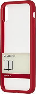 Moleskine 透明手机硬壳-带橡皮筋图形,适用于iPhone X 带有XS Volant日志用作记录 -带有边框和带形图形,鲜红色