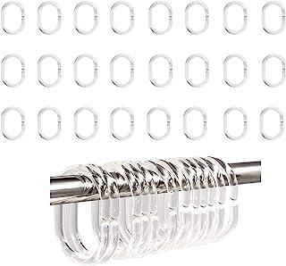 24 件浴帘环塑料窗帘 C 形环挂钩挂钩浴室吊环夹滑盖适用于浴室淋浴窗杆(透明)