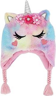 儿童女童独角兽无檐小便帽冬季帽彩虹人造毛皮毛绒内衬耳盖帽