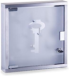 Zeller 13890 钥匙柜 30 x 6 x 30 厘米 玻璃和不锈钢