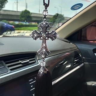 Bling 汽车悬挂吊坠配件 水晶金属钻石后视镜装饰 流苏闪亮十字车内饰装饰 男女用品
