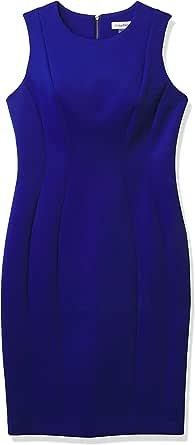 Calvin Klein 女士无袖多缝紧身连衣裙
