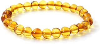 TipTopEco 波罗的海琥珀成人弹力手链 - 7 英寸(约 17.2 厘米)长 - 抛光蜂蜜珠