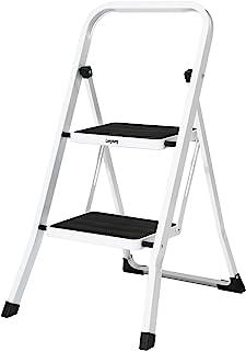 Leeyoung 2 步梯子,折叠台凳,带宽防滑踏板坚固且手柄,适用于厨房和办公室,便携式台阶凳,钢材 320 磅白色