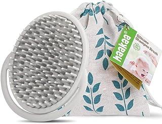 Haahaa **按摩器洗发水刷硅胶淋浴刷婴儿沐浴刷带软刷毛,灰色 - 1 件