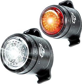 自行车手电筒螺栓组合 - USB 可充电自行车灯前后轮*自行车 LED 前灯和后尾灯,自行车灯组,易于安装男女儿童(2 件套)