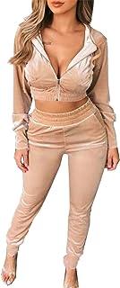Kafiloe 丝绒运动服女式短款拉链连帽衫运动衫 2 件套装