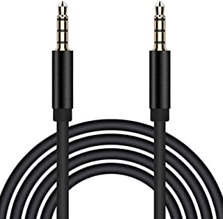 TRRS 3.5 毫米音频线,4 极公对公立体声辅助电缆[麦克风兼容] 辅助延长电缆适配器/辅助线适用于汽车 iPhone Android 耳机,PS4,平板电脑,耳机,PC(6 英尺/1.8 米)