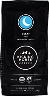Kicking Horse Coffee 脱咖啡因咖啡,瑞士水处理,深度烘焙,全豆,USDA Organic认证,公平贸易,犹太洁食咖啡,10盎司/284g