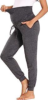 BBHoping 女式孕妇休闲裤腹部宽松运动裤 弹性舒适休闲孕妇慢跑裤带口袋