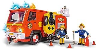 Simba 109251085 消防员 Sam Ultimate Jupiter 消防车 带 2 个人物、灯光和声音,水注射功能、绳风,适合 3 岁以上儿童