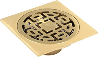 Tulead 浴室厨房地漏铜方形淋浴排水管金色过滤器盖带可拆卸盖板