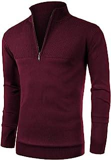 NITAGUT 男式修身拉链企领 Polo 衫休闲长袖毛衣和罗纹边缘套头毛衣