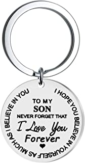 DezCruk 妈妈儿子礼物励志钥匙扣鼓舞人心的钥匙圈生日礼物来自妈妈爸爸送给我儿子送给男孩他永远不会忘记我爱你儿子的圣诞礼物