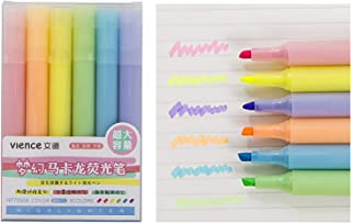 VIENCE 荧光笔,6 色荧光笔,凿尖标记笔,水基,快干,*保护,适合成人和儿童,超长标记性能,6 支装(马克龙)