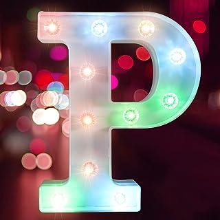彩色字母灯 LED 字母灯 适用于酒吧、钻孔灯珠派对、字母灯照明(电池供电)(字母 P)