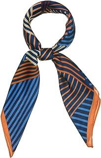 Allegra K 70cm 条纹印花方形围巾 颈巾 头巾 颈巾 颈巾 头巾 女士