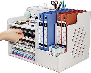 simfort 桌面收纳器和配件带纸巾盒/4 个托盘/2 个部分/文件架/笔架,办公室桌面收纳袋适用于文件夹/A4 纸张/管道/笔记本,家庭办公室文件收纳袋(A)