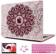 CISSOOK 粉色保护套带曼荼罗绘画花适用于 MacBook Air 13 英寸 2021 2020 2019 2018 发布 A2337 M1 A2179 A1932,迷人的花卉保护套带键盘盖,适用于 Mac Air