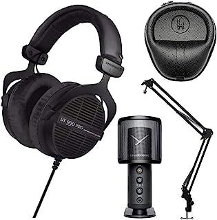Beyerdynamic DT990 LE Pro 声学开式耳机(250 欧姆),配有 Fox 专业 USB 工作室麦克风、Knox 齿轮麦克风悬架臂和 Knox 齿轮硬壳套套装(4 件)