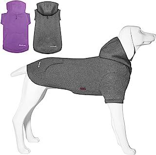 Kickred 2 件基本款棉质狗狗连帽衫毛衣,柔软宠物衣服狗狗运动衫,狗狗服装外套套头衫带口袋和皮带孔,适合小型中型大型犬,XL 码
