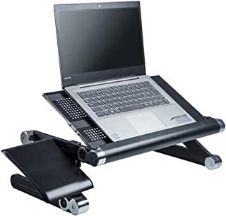 便携式折叠笔记本电脑支架和立式办公桌转换器。 便携和折叠(有黑色、白色、粉色可供选择) 黑色
