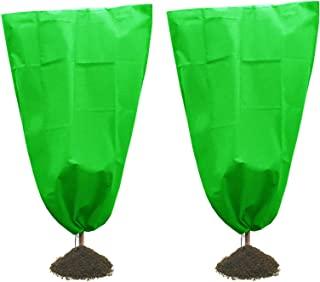 GRAWILLEInc 防冻植物罩植物霜保护罩防霜毯夹克保护冬季植物冻保护适用于玫瑰灌木无花果树灌木小植物 - 2 件装(117.72 厘米)