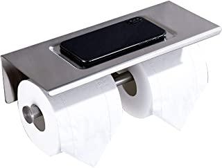 卫生纸架 带搁板 拉丝镍 SUS304 不锈钢纸巾架 适用于浴室厨房现代双卷纸巾架 带手机架 无需钻孔或壁挂式