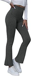 MakeMeChic 女式纯色罗纹针织高腰喇叭裤