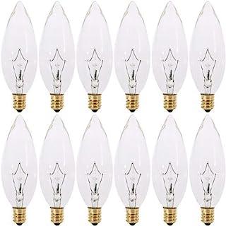 60 瓦枝形吊灯灯泡 烛台底座 120V 60W 60CTC 鱼雷形可调光 透明白炽灯灯泡 E12 灯座(12 个装)