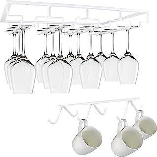 酒杯架 - 金属酒杯架 Yimerlen 橱柜高脚杯储物架收纳盒,适用于橱柜厨房酒吧(4 排白色)