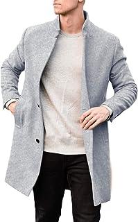 Makkrom 男式经典商务风衣单排扣大衣重量级修身冬季长款豌豆外套
