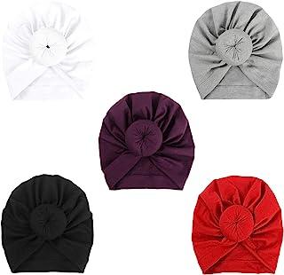 BQUBO 5 件套可爱头巾女婴复古软圆结婴儿学步儿童帽