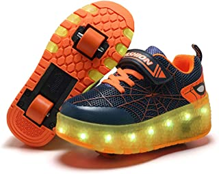 BFOEL 蜘蛛溜冰鞋发光鞋带 USB 充电 LED 运动运动鞋男孩女孩孩子生日感恩节圣诞节*佳礼物