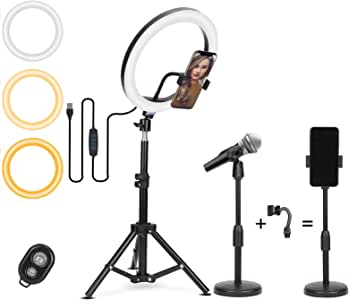 Gurmoir 19 英寸(约 48.3 厘米)三脚架,带 10 英寸(约 25.4 厘米)环形灯,带手机支架和遥控器,用于直播和 YouTube 视频,可调光化妆环灯摄影