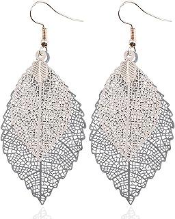 女士合金金属树叶形状镂空钩耳环时尚珠宝