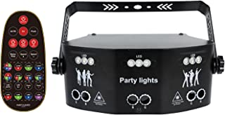Sumger 15 镜头室内 RGB DMX 舞台灯,遥控声控 64 种模式激光投影仪显示照明,RGBW UV 紫色 LED 闪光灯,适用于 DJ 迪斯科舞厅酒吧教堂婚礼圣诞节
