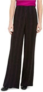 Bar III 女式黑色拉链细条纹喇叭裤尺码 0