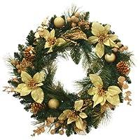 WeRChristmas 預發光裝飾圣誕裝飾,帶 20 個 LED 暖燈,60 厘米 - 花環,奶油色/金色帶掛鉤 金色 Wreath WRC-2122