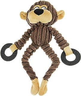 可爱动物形状灯芯绒耐用宠物狗宠物猫填充咀嚼玩具牙齿清洁训练 Squeaker Play 咀嚼绳玩具牙胶适合中小型犬 毛绒声音响声玩具 宠物玩耍小狗 Monkey